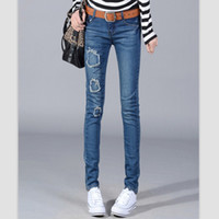 Women wholesale blue jeans - 2013 new arrival slim jeans pleated frayed jeans blue wear white jeans DHL