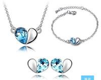 Wholesale 2014 Luxury women love heart Crystal Necklace bracelet earring Pendant Jewelry Silver Chian Jewelry Sets hot selling