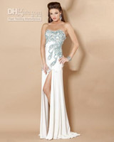 Model Pictures Strapless Chiffon Sexy Strapless Sheath Peacock Prom Dresses Beaded Jersey Side Slit Sweep Train