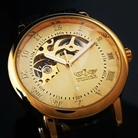 Wholesale Gents Men s Golden Case Skeleton Dial Hand Wind Up Leather Mechanical Watch WM208