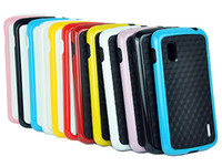Wholesale 50pcs HQ Dual Color TPU D Diamond Square Bumper Hard Case Cover For google Nexus LG E960