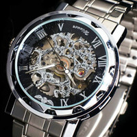 Men's automatic skeleton watch for men - Stainless Steel Watchband Mechanical Watch for Men Automatic Watch amp Brand Winner Fashion Skeleton a