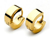 Wholesale Punk fashion men s titanium stainless earring gold plating earrings high quality cheap