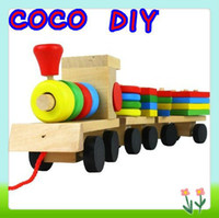 Wholesale The Shape Of Three Section Blocks Cars Small Tractor Train Environmental Protection Wooden Toy Train