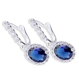 Lady Oval Stone Blue Sapphire Piercing Huggie S925 Sterling Silver Earrings NAL E043