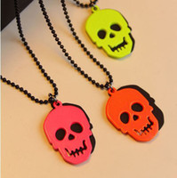 Wholesale Fashion Vintage Style Fluorescent Color Skull Necklace Pendant Women s Jewelry China XL41
