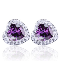 Women's Heart Shape Purple Amethyst Sterling Studs S925 Sterling Silver Earrings NAL E045