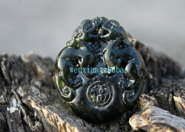 Handmade, double-sided carving, natural dark green jade brave (blessing). Necklace pendant 40x34x9 m