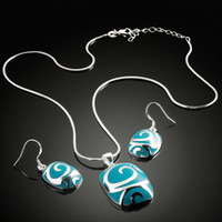 Wholesale 2013 Jewelry Set Necklace Earrings Women s Girl Sliver Round Shape Glue Resin S1323