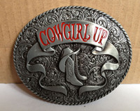 Wholesale WESTERN BELT BUCKLE Cowgirl Up with rodeo boots oval belt buckle SW B30 brand new belt buc