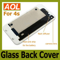 Wholesale Back Glass Battery Housing Door Cover Replacement Part GSM CDMA for phone S Black White Color