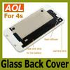 Back Glass Battery Housing Door Cover Replacement Part GSM CDMA for phone 4 4S Black White Color