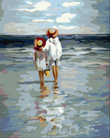 Wholesale Hand painted DIY oil painting by number acrylic paint beach x40cm home decoration un