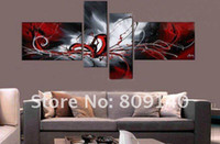 contemporary oil paintings - new red grey contemporary abstract oil painting canvas high quality hand painted home