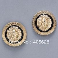 Wholesale Hot Fashion enamel lion head stud earrings gold color
