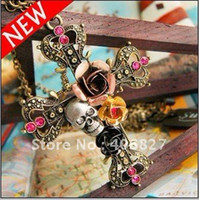 Women's Fashion Necklaces Punk Style Retro Cross With Rose Flower Crystal Diamond Skull Pendant Necklaces