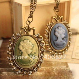 Wholesale Vintage Antique Bronze Victorian Around by Crystal Flowers Bow Portrait Cameo Pendant Long Necklaces