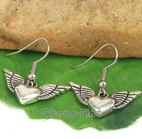 Dangle & Chandelier fishing hooks wholesale - 25x27mm Silver Fish Hook Tibetan Silver Angel Wing Heart Shaped Pendant Charm Earrings E189 Fashion