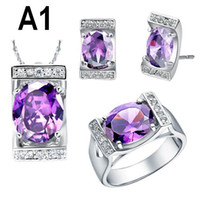 Others aqua blue sapphire - 18K White Gold Sapphire Amethyst Charm Crystal Necklaces Rings Earrings Silver Jewelry Sets