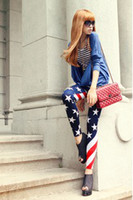 Wholesale 5PCS New Women USA American Flag Stripe Space Star Print Fashion Leggings Tights Legwear Pants