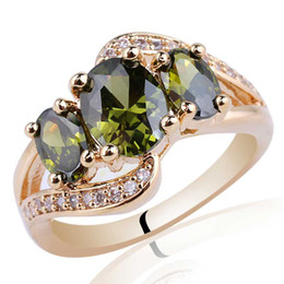 Lady 3-Egg Stone Green Peridot Gold Finish S925 Sterling Silver Ring NAL R094 Size 6 7 8 9
