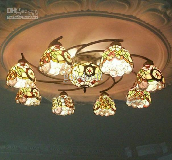 tiffany style stained glass pendant light in floral pattern with, Lighting ideas