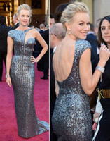 Wholesale Naomi Watts th Oscar Celebrity Dresses Red Carpet Gowns Metal Silver Best Dressed Real Images