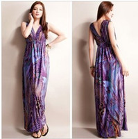 Wholesale Purple Bohemian Women Long Dress Cotton dress Summer Printing Maxi Fashion Women Skirts DK4027