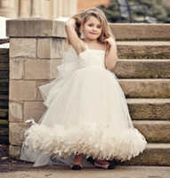 Wholesale 2013 New Lovely Vintage Bridal Flower Girl Dress Tulle Spaghetti Straps Feather Beaded Dresses LBJ