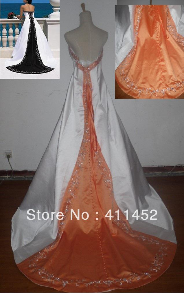 Discount plus size white and orange strapless satin with for White and orange wedding dress