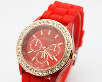 Wholesale 11 colors Geneva lady Luxury candy Jelly Silicone Wristwatch Unisex Watch men women watches