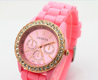 Wholesale Geneva lady Luxury candy Jelly Silicone Wristwatch Unisex Watch men women watches