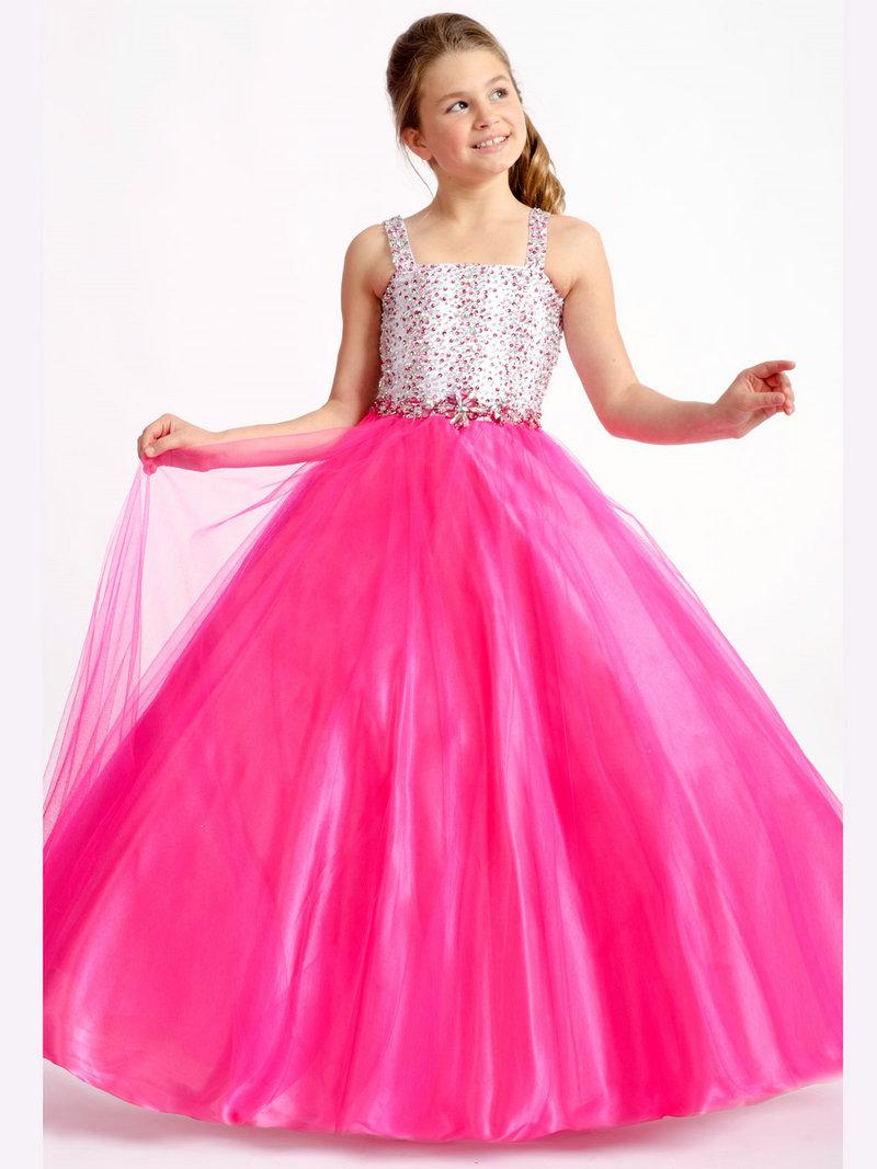 Glamorous Beading Tank Top Two Color Ball Gown Girls Pageant ...