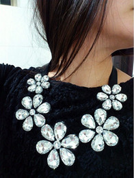 Super Shiny Necklaces Crystal Camellia Ribbon Necklaces Fake Collar