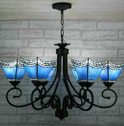 Tiffany Color Glass Pendant Light Antique Inspired Chandelier With 6 Lights In Blue Lampshade