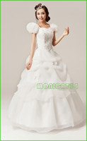 Wholesale New Crystal Yarn princess Wedding Dress Strapless beading Ruffles prom wedding dress Puff Sleeve