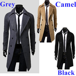 Wholesale New Men s Trench Coat Double Breasted Notched Shawl Lapel Winter Overcoat colors G4004