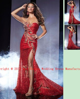 Reference Images Sweetheart Lace 2013 Hot Dark Red Gorgeous Sequins & Peacock Feather Prom Gown Split Mermaid Evening Dresses 14567