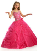 Girl halter top wedding dress - Flower Girl Dresses Top Selling Fuchsia Girl s Pageant Dress Spaghetti Strap Princess Ball Gowns Flower Girls Dresses with Crystals