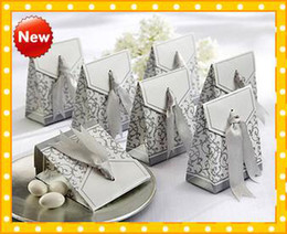 Wholesale 2016 Fashion In Stock Sliver New Arrival HOT Ribbon Wedding Bridal Favors Candy Party Boxes Favor Cheap