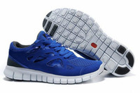 Wholesale 2013 New Free Run Men s Soft Sports Shoes Blue Nets Mens Running shoes Red White Sneakers