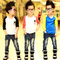 Wholesale Child s fashion spring and Autumn T shirts boy s Long sleeve T shirts fsa