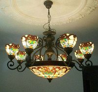 Wholesale Tiffany Art Colorful Glass Chandelier Dining Room Living Room Pendant Lamp Light Dia cm