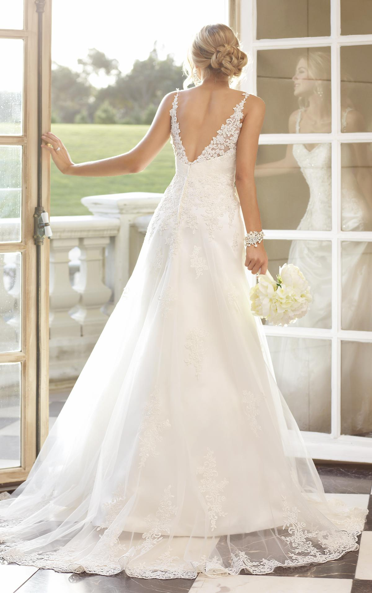 A Line Beaded Lace Beach Wedding Dresses Bridal Gown with