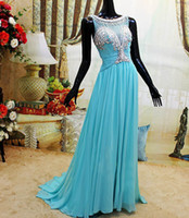 Real Photos Jewel Chiffon Custom Made Size&Color Blue Bateau Neck A-line Chiffon Long with Sweep Train Crystals Beaded Backless Low Back Evening Dresses Prom Gowns