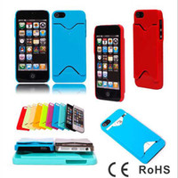 Wholesale New plastic PC hard case back cover with ID credit card slot holder cases for iPhone G iphone5