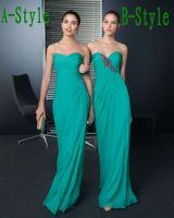 Wholesale New Bridesmaid Dresses Cheap Sweetheart Sheath Chiffon Ruffle Appliqued Zipper Turquoise Prom Dress Bridesmaid Dresse