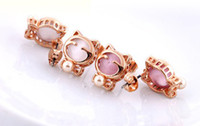 Wholesale 15 off Opal k real gold cat earrings earrings titanium needles are not allergic pairs