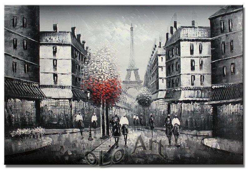 Best quality paris eiffel tower black white oil painting art on canvas wholesale oil - Landscaping parijs ...