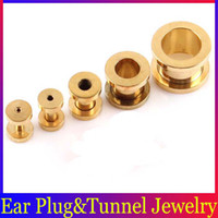 Wholesale Titanium Gold L Steel Ear Flesh Tunnels Ear Plugs Body Piercing Jewelry Ear Studs Earrings BJ084